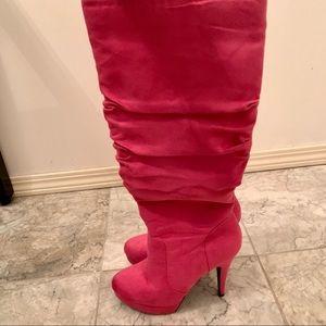 Shoe Dazzle Izabel Fuchsia Heeled Boots